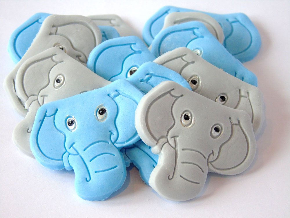 Edible Birthday Cupcake Cake Decorations - 12 Pink Elephants Simply Toppers