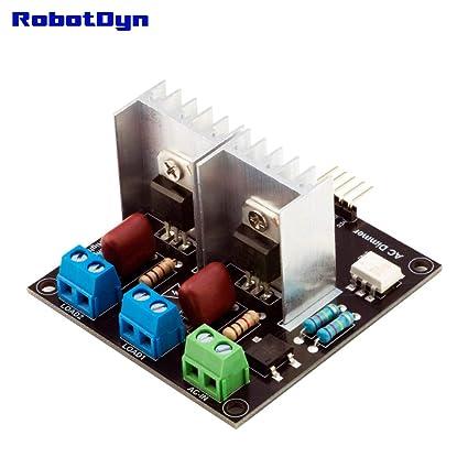 RobotDyn - 2 Channel AC Dimmer Controller Module for Arduino, STM32, ESP32,  ESP8266, Raspberry pi, 3 3V/5V Logic, AC 50/60hz, 220V/110V