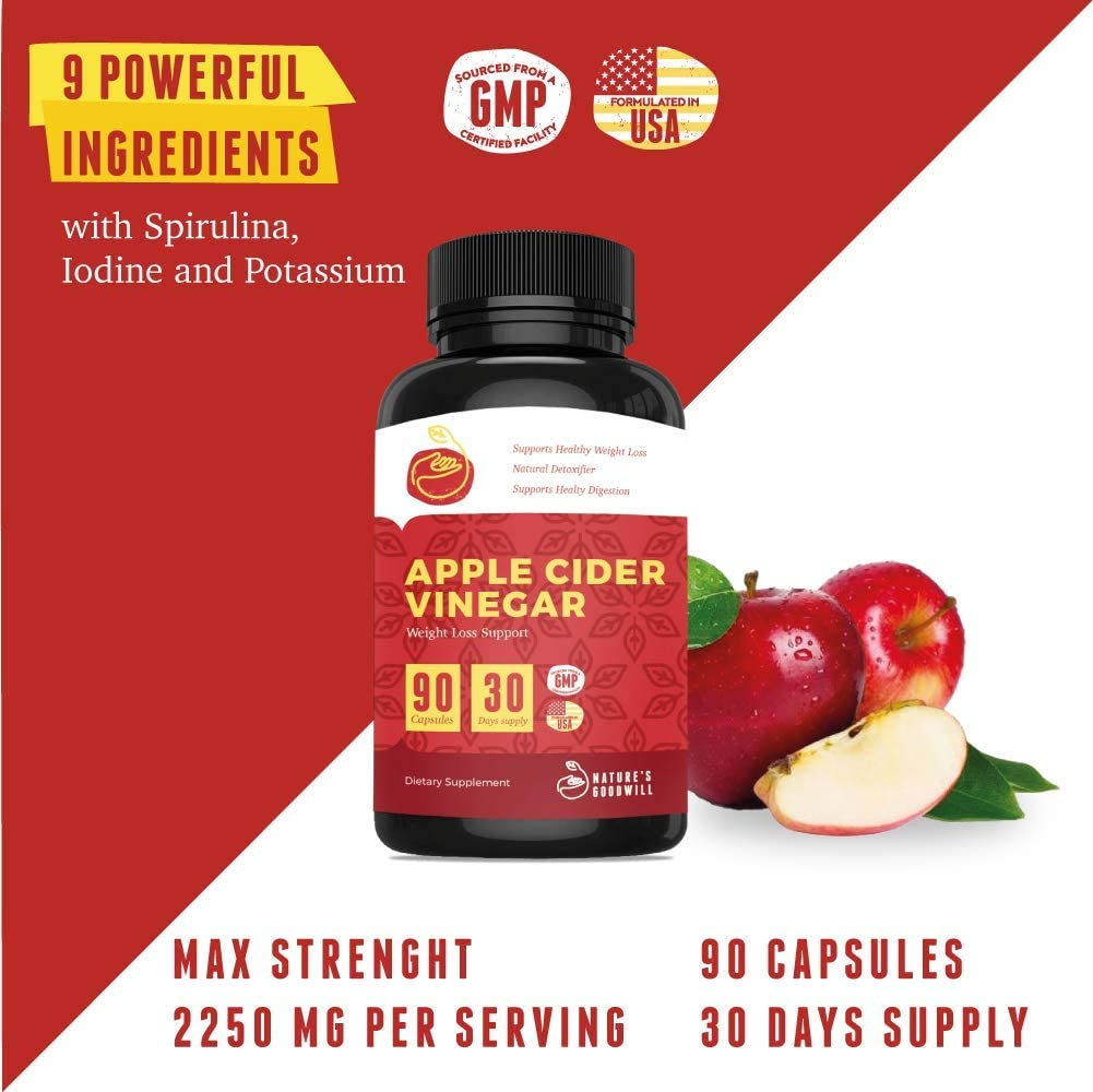 Apple Cider Vinegar Pills for Weight Loss | All Natural Detox Cleanse Weight Loss, Appetite Suppressant, Metabolism Booster, Fat Burner & Keto Diet | 90 Extra Strength 2250mg ACV Capsules