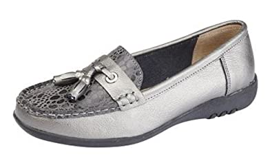 e551a789594b WOMENS LEATHER EXTRA WIDE EEE FIT SLIP ON LOAFERS SHOES SIZE 3 - 9 PEWTER (