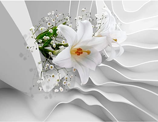 Fototapete Blumen 3D Lilien Weiß Vlies Wand Tapete Wohnzimmer Schlafzimmer  Büro Flur Dekoration Wandbilder XXL Moderne Wanddeko Flower 100% MADE IN ...