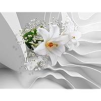 Fotobehang Bloemen 3D Lilies - Vliesbehang Woonkamer Slaapkamer Kantoor Hal Decoratie Muurschilderingen XXL Moderne…