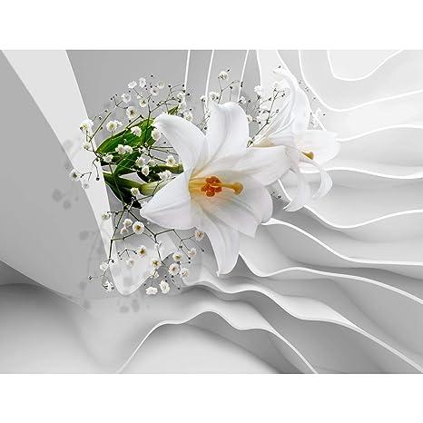 Fototapetenn Blumen 3D Lilien Weiß 352 x 250 cm Vlies Wand Tapete  Wohnzimmer Schlafzimmer Büro Flur Dekoration Wandbilder XXL Moderne  Wanddeko Flower ...