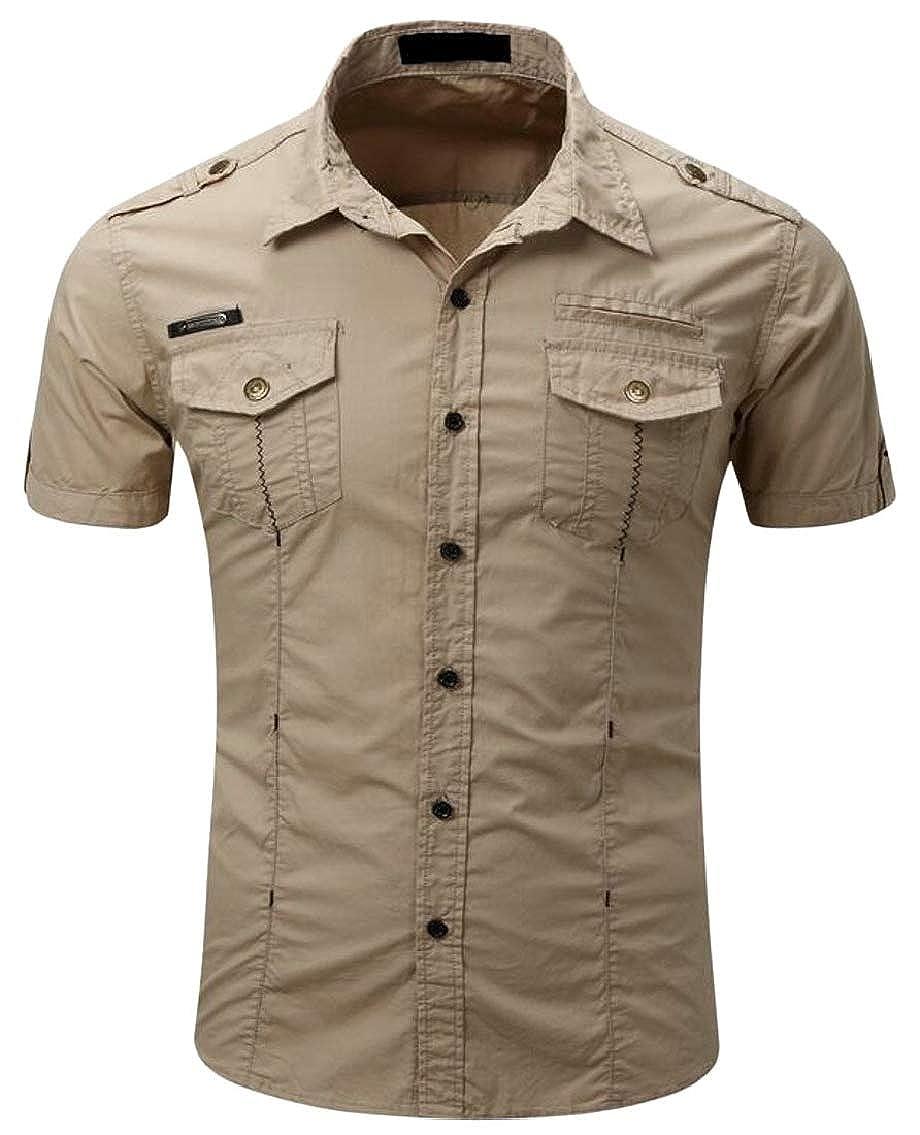 Hokny TD Mens Short Sleeve Military Fashion Cotton Button Down Shirt