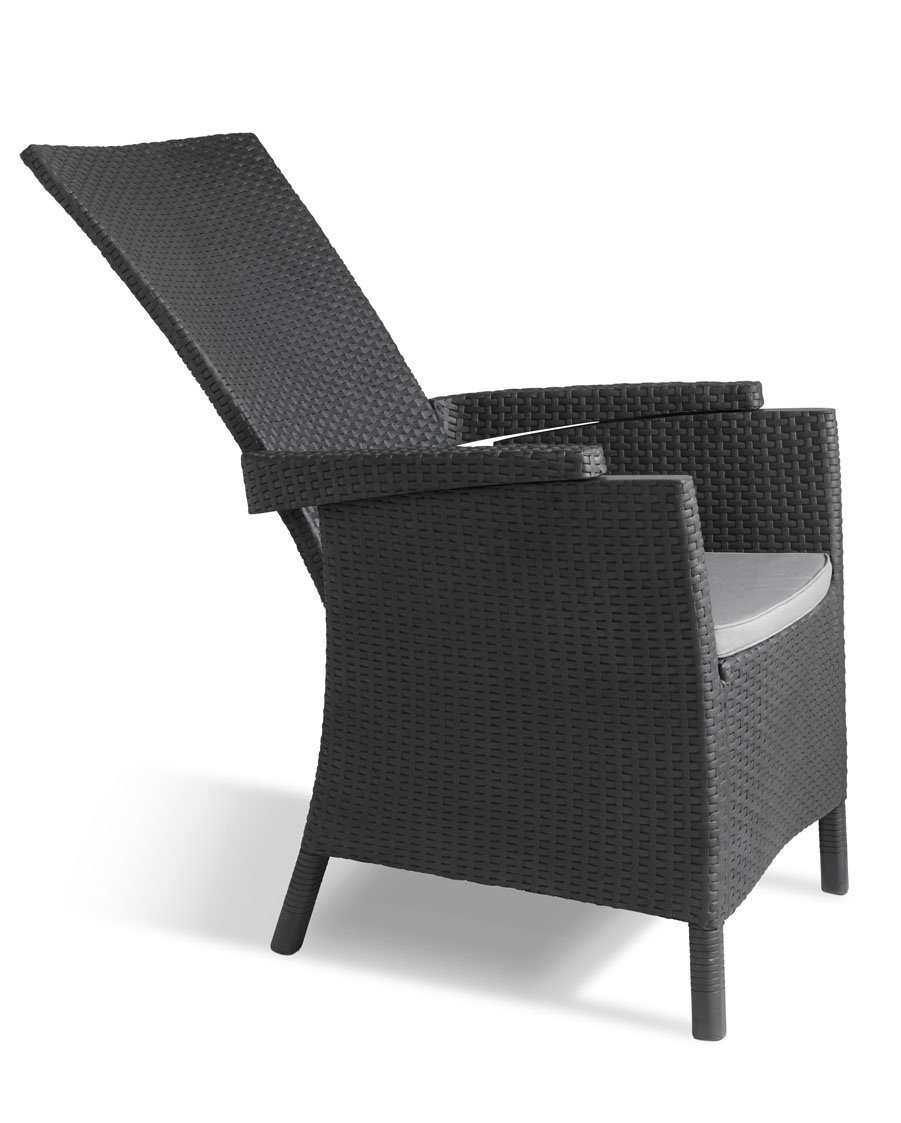Allibert By Keter Vermont Rattan Reclining Chair Outdoor Garden Furniture    Graphite With Grey Cushions: Amazon.co.uk: Garden U0026 Outdoors