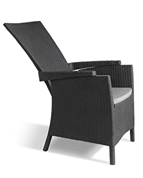 allibert by keter vermont rattan reclining chair outdoor garden furniture graphite with grey cushions