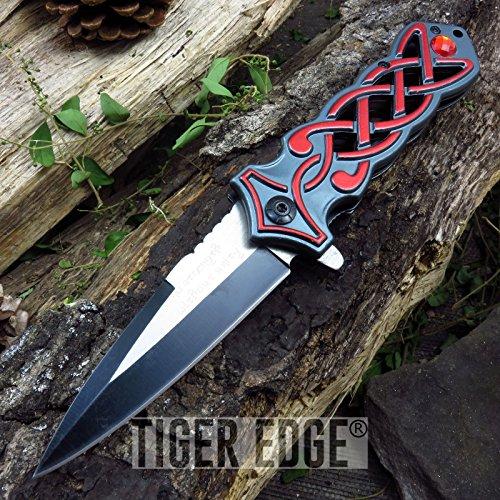 Sgian Dubh Dagger (NEW! Red Scottish Sgian Dubh Dagger Fantasy Style Cool ProTactical Limited Edition Elite Folding Knife)
