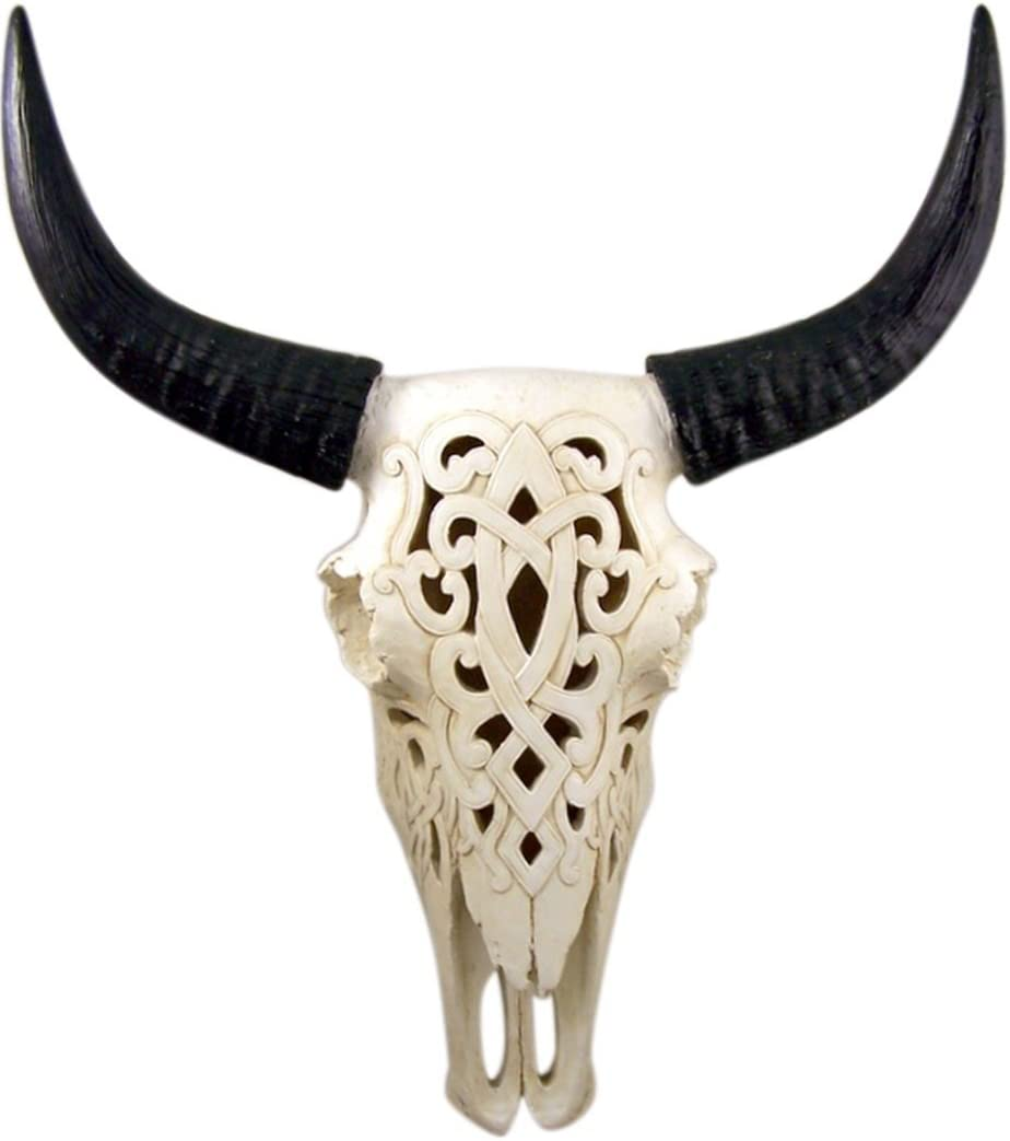 Home Originality White Tribal Engraved Steer Skull Wall Hanging Sculpture, 19 Inch