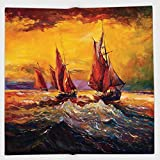 Cotton Microfiber Hand Towel,Country Decor,Image of Old Sailboats Ships Cruising in Waves at Sunrise Time Dark Pastel Sky Art,Yellow Orange,for Kids, Teens, and Adults,One Side Printing