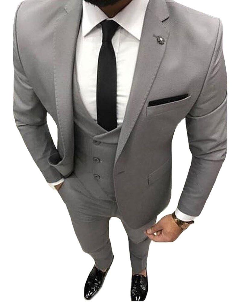 Mens Grey One Button 3 Piece Suit Prom Wedding Notch Lapel Formal Tuxedo