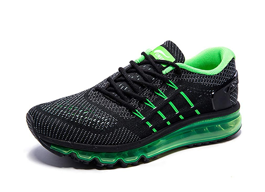 Black Green UB-ONEMIX Mens Lightweight Air Running shoes Breathable Gym Outdoor Unique Walking Sneakers