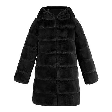 6a6ff804997 MODOQO Women s Faux Fur Hooded Parka Coat Warm Winter Jackets Pocket  Overcoat(Black