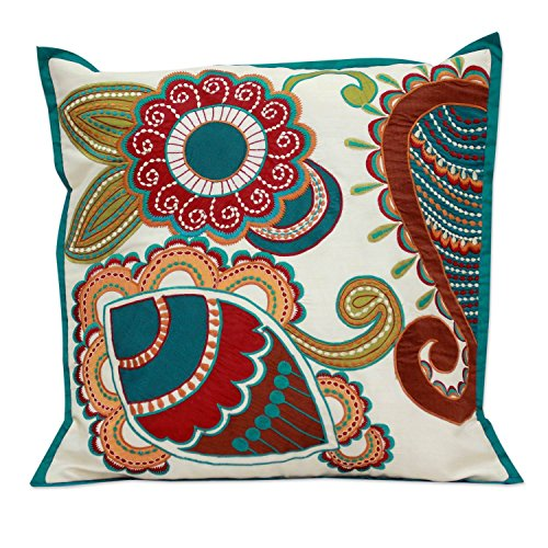 NOVICA Hand Stitched Floral Paisley Garden' Applique Cushion Cover