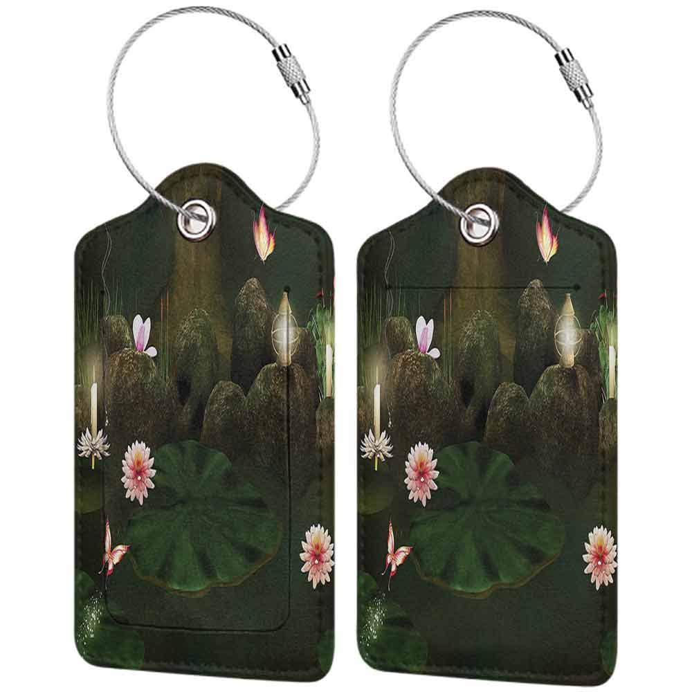 Multicolor luggage tag Magic Home Decor Mystical Secret Place Deep Dark in the Forest with Butterflies and Flowers Zen Image Hanging on the suitcase Green Brown W2.7 x L4.6
