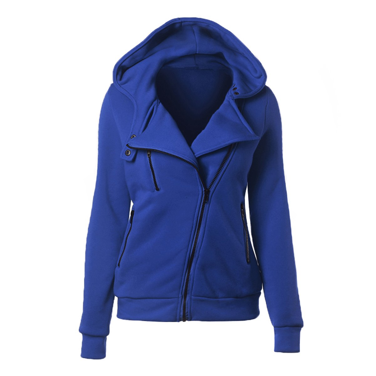YunPeng Women's Oblique Zipper Hooded Jacket Solid Color Sweatshirt Coat by
