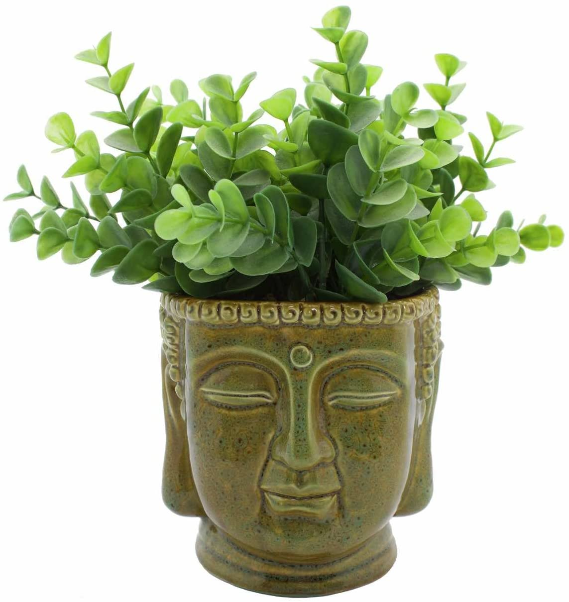 Streamline Buddha Head Ceramic Planter Pot/Colors May Vary