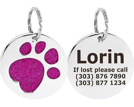 ID Tag/Placas para Perros grabadas en Acero Inoxidable |Placa identificativa Perro Personalizadas grabadas con láser | Impresión de la Pata Redonda| ...