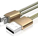 Dual USB Charging Cable,Cheeringary Durable 2 in 1 Magnetic Nylon Braided Lightning to USB Cable + Micro USB Cable Fast Charge Cord for iPhone iPad Android Samsung Nokia HTC LG(3.6ft,Gold)