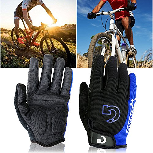 GEARONIC TM Cycling Bike Bicycle Motorcycle Shockproof Foam Padded Outdoor Sports Half Finger Short Riding Biking Glove Working Gloves (Blue Full Finger, Full M ()