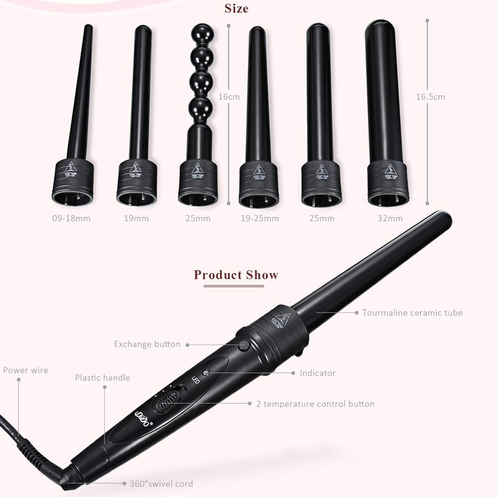 Amazon.com : DODO Curler Wand, 6 In 1 Ceramic Curling Wand, Hair Curler Set Tube Interchangeable PTC Fever Curling Plastic Brackets Self-Locking Rotatable ...