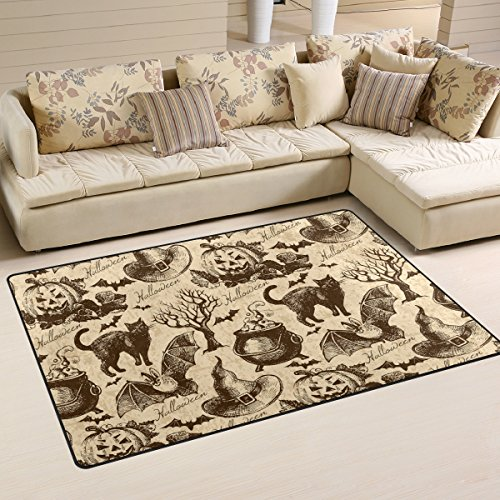AURELIOR Vintage Halloween Black Cat Bat Area Rug Rugs Non-Slip Indoor Outdoor Floor Mat Doormats for Home Decor 31