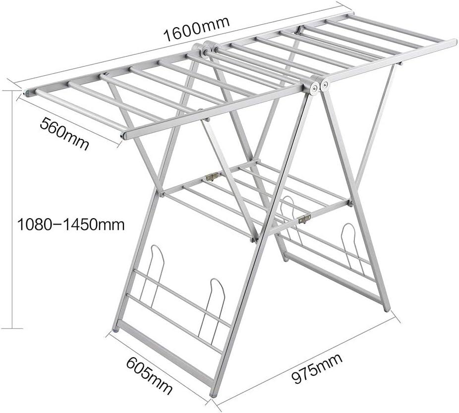 Fkdeyijia Rack de Secado de Aluminio X-Wing, Rack de Secado Ajustable en Altura de 2 Capas con Soporte para Zapatos (Plateado): Amazon.es: Hogar