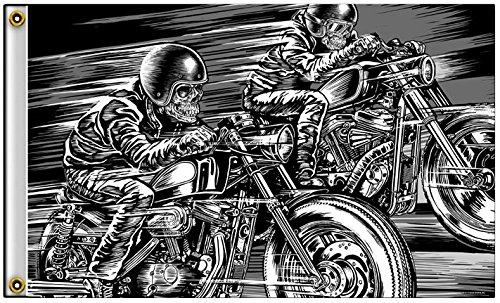 Hot Leathers Skull Racers 3'x5' Flag FGA1067 ()
