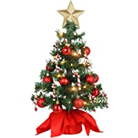 ABOOFAN 15inch Mini Artificial Tabletop Christmas Tree with LED String Light Red Xmas Tree Balls and Candy Canes…