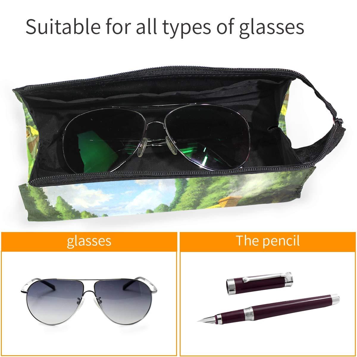 Orange Chevron Glasses Case Portable Soft Sunglasses Pen Bag Protective Box