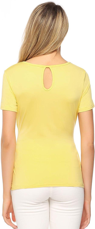 Aibrou T-Shirt Manica Corta Girocollo Donna con Cintura Camicetta Casual Bluse Elegante Maglia Basic