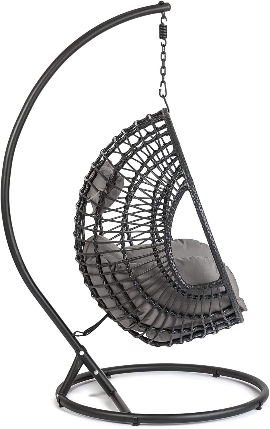 Gray,Black jhtceu Hanging egg chair outdoor and indoor rattan weaving swing hammock hanger and landing aircraft