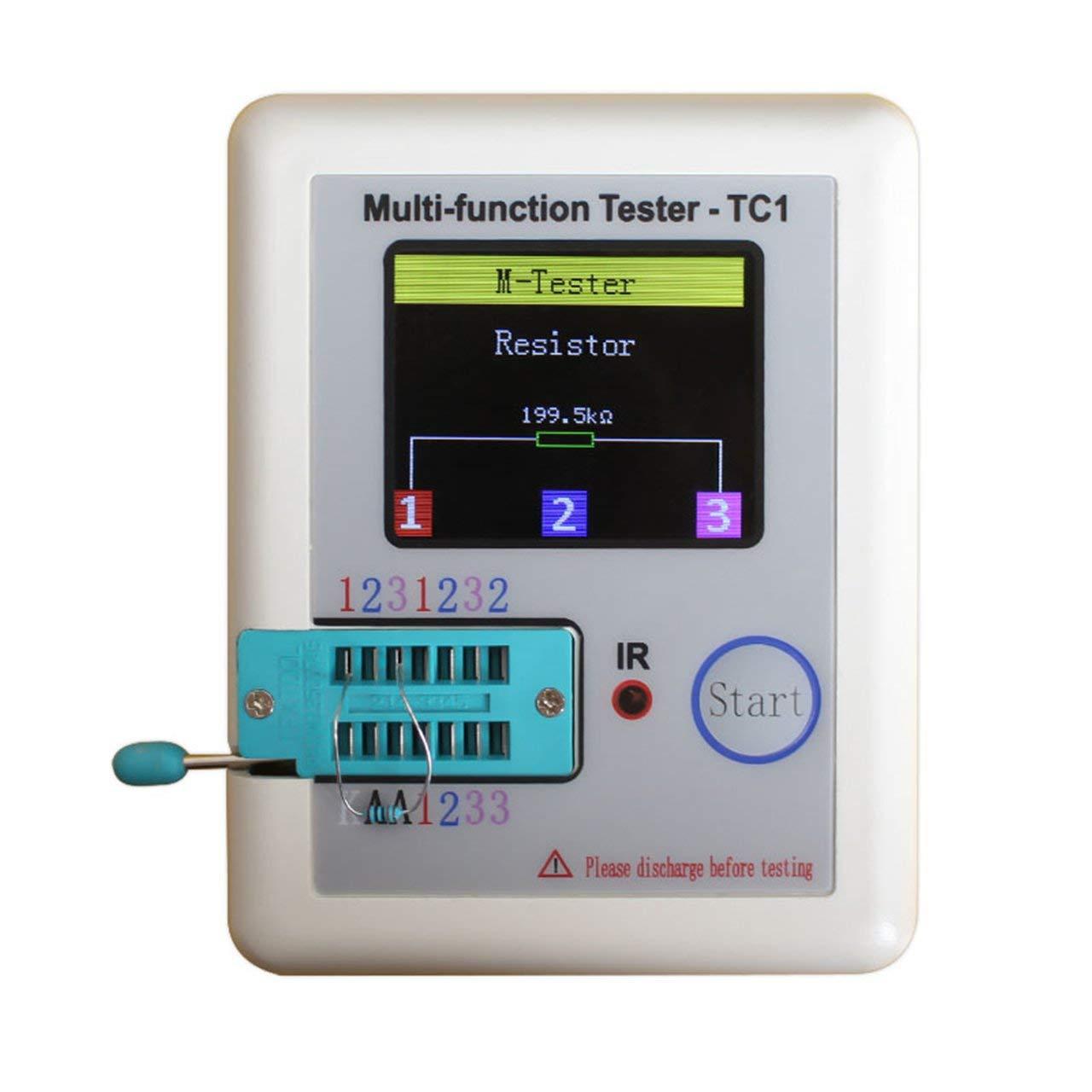 Jasnyfall LCR-TC1 Probador de transistores TFT Diodo Triodo Capacitancia Medidor LCR ESR TFT Blanco