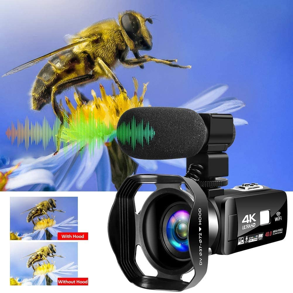 4K Video Camera Ultra HD Camcorder 30MP IR Night Vision Digital Camera WiFi Vlogging Camera with External Microphone and Lens Hood 3 in Touch Screen