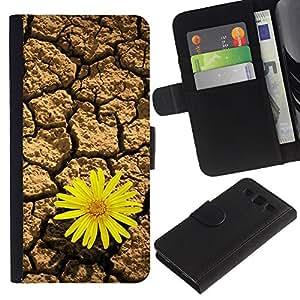 Billetera de Cuero Caso del tirón Titular de la tarjeta Carcasa Funda del zurriago para Samsung Galaxy S3 III I9300 / Business Style Life tenacious flowers Desert Sunflower