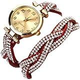 Tonsee® Femmes Rivet Cristal Bracelet Quartz tressé enroulement Wrap montre-bracelet Rose