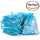 light blue and purple candy - 100pcs Drawstring Sheer Organza Bags Coralline Blue Gift Jewelry Candy Chocolate Mesh Pouches for Wedding Party Bridal Baby Shower Birthday Engagement Christmas Holiday Favor, 4.7 x 3.5 Inch