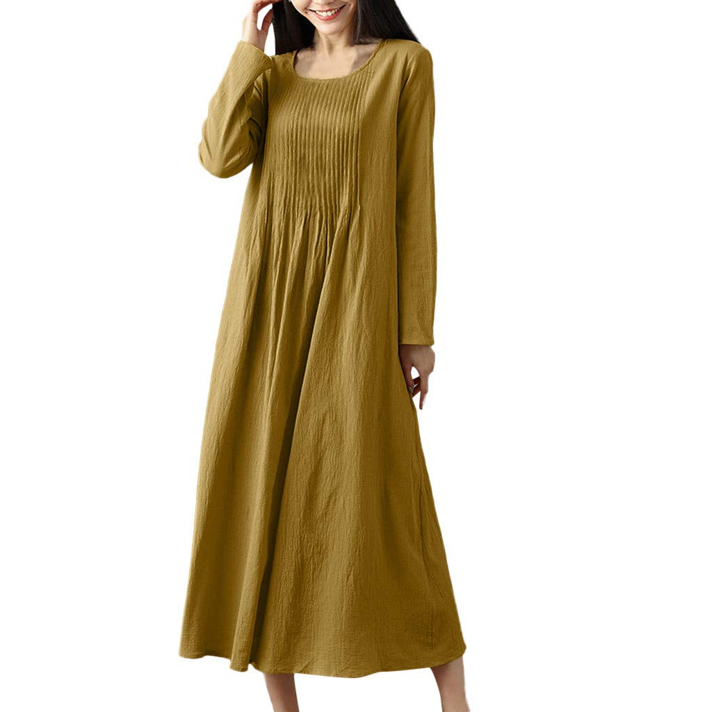 Women Linen Pleated Dresses,Ladies Solid Color Casual Loose Lightweight Long Sleeve O-Neck Vintage Long Dress 2019 (Yellow, Size:XXL)