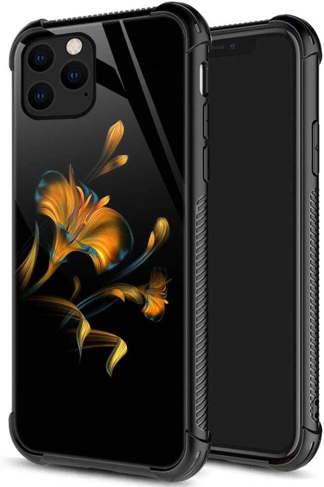 iPhone 12 Pro Max Case, Golden Flower iPhone 12 Pro Max Cases for Women Girls, Pattern Design Shockproof Anti-Scratch Organic Glass Case for Apple iPhone 12 Pro Max 6.7-inch Yellow Flower