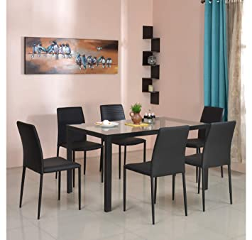 @home by Nilkamal Vivian 6 Seater Dining Table Set  Clear