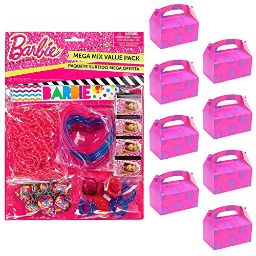 BirthdayExpress Barbie Party Supplies Filled Favor Box Kit (for 8 Guests) -