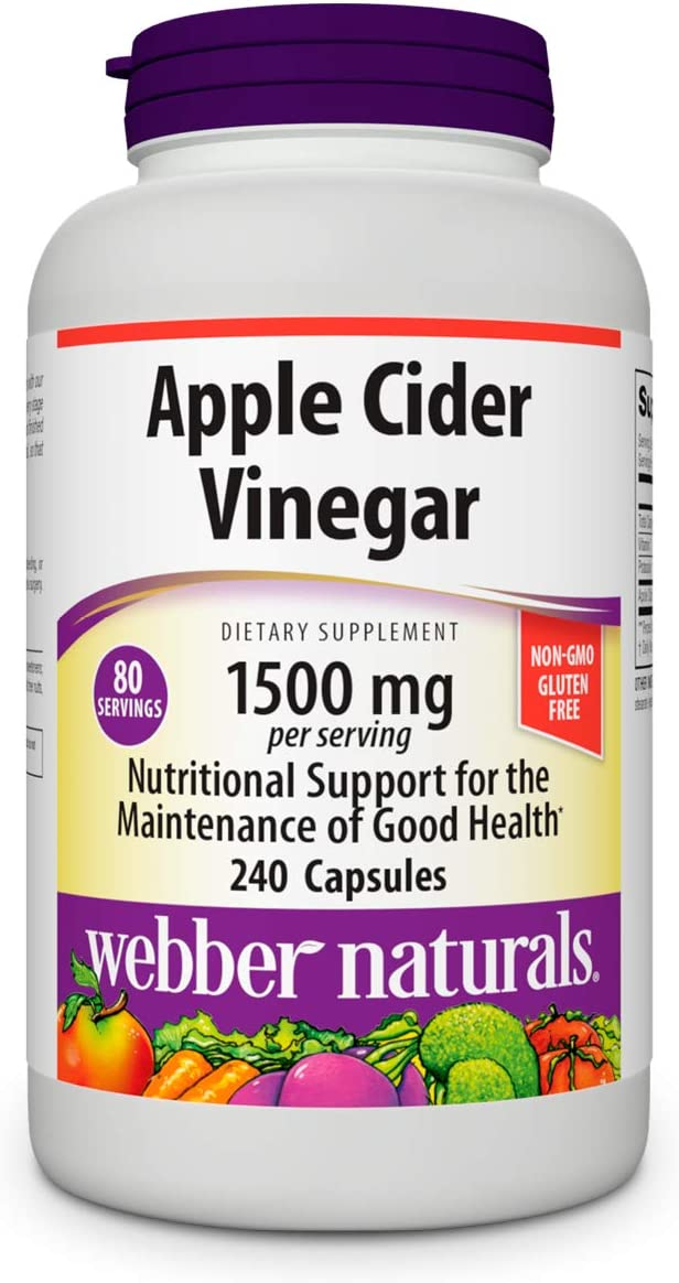 Webber Naturals Apple Cider Vinegar 1500mg, High Potency, 240 Capsules, Non-GMO and Gluten Free