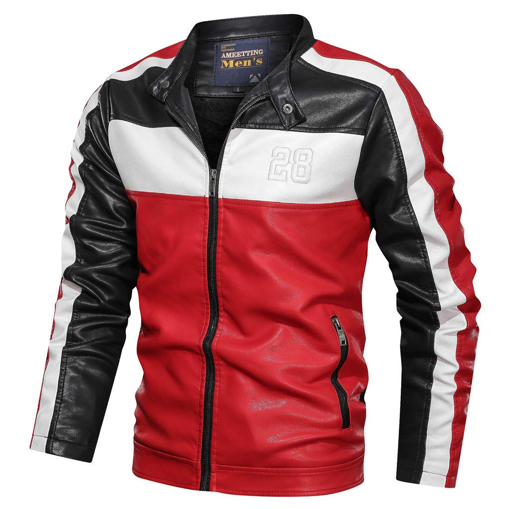 Fitfulvan Men's Waterproof Zip Jacket Motorcycle Leather Coat Retro Color Block Casual Outwear Black