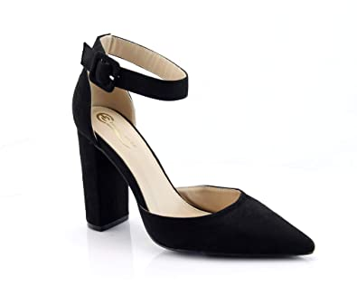 199840d826a FOREVER VOGUE Women s High Chunky Block Heel Sandals Ankle Strap Pointed  Toe Pump Shoes Black