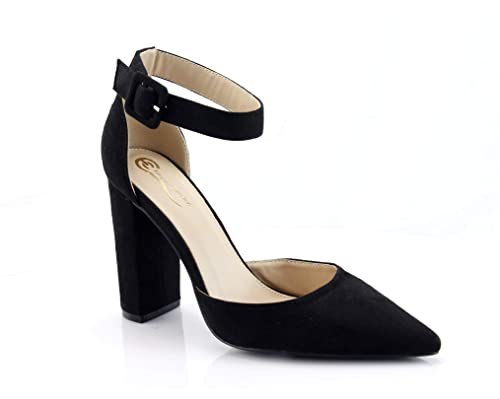 8e5aa5bc797e56 Image Unavailable. Image not available for. Color  FOREVER VOGUE Women s  Chunky Block High Heel Pump Sandals Ankle Strap Closed Pointy Toe ...