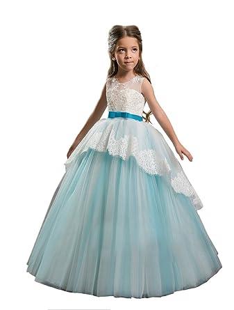 f7c3d7ce0f0 GreenBloom Little Girls  Applique Lace Floor Length Ball Gown Flower Girl  Dresses 2 Aqua