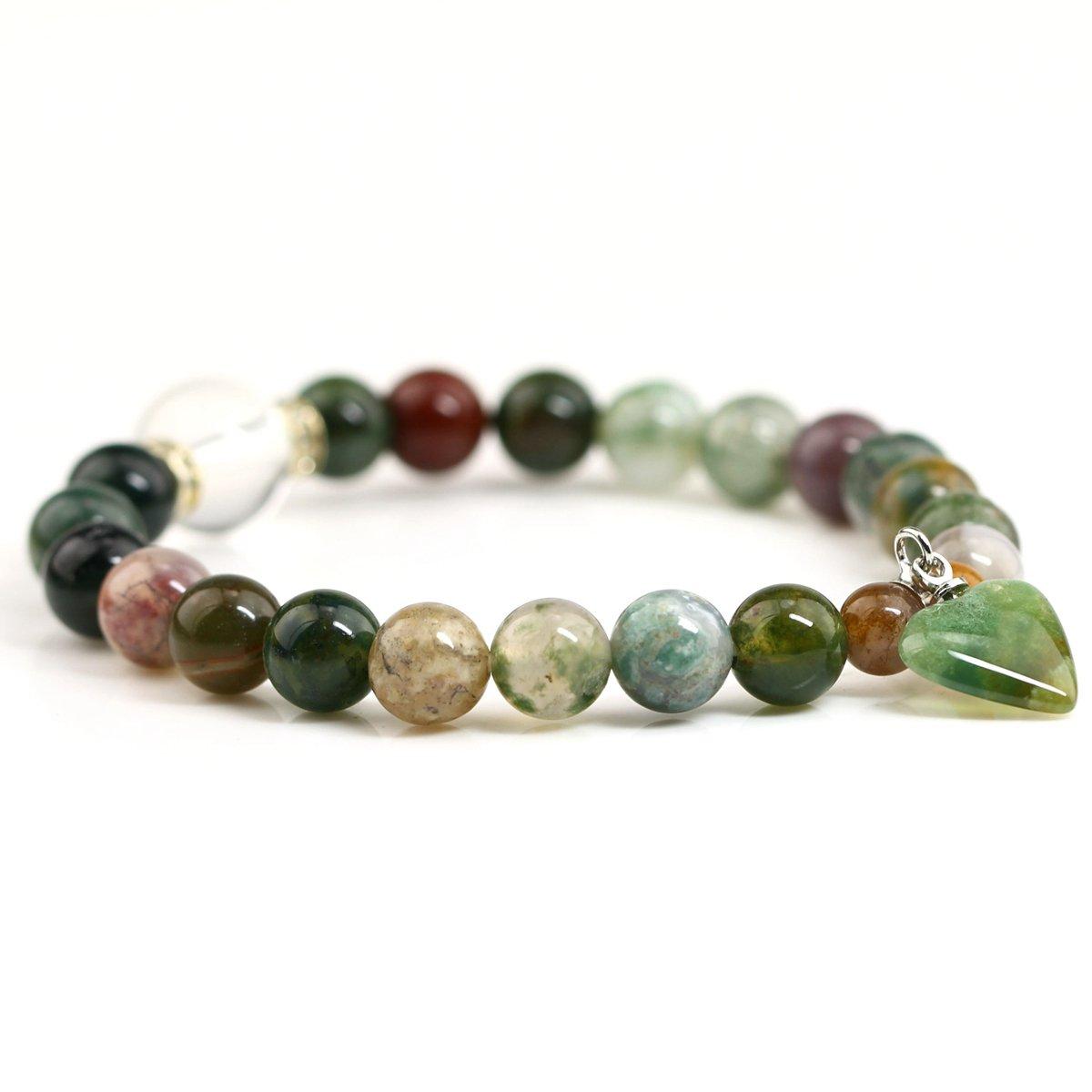 Hand Made Gemstone Healing Natural Jasper Crystals Chakra Bangel Elastic with Heart Pendant Bracelet (Amethyst) Baixiyan