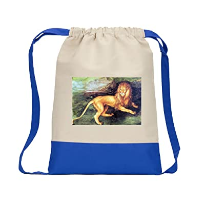 70%OFF Lion (Durer) Canvas Backpack Color Drawstring Bag