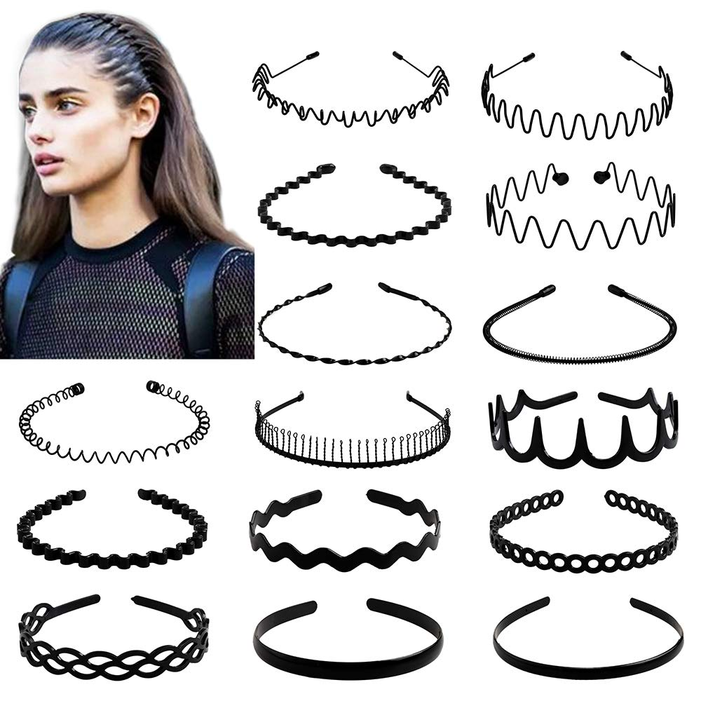 fani 15 Pcs Metal and Plastic Hair Hoop Set, Elastic Non Slip Hair Band Hoop Headwear, Black Wavy Simple Outdoors Unisex Hair Accessories for Men and Women : Beauty