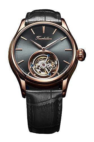 BOS Tourbillon - Reloj de Pulsera para Hombre, de Acero Inoxidable Chapado en Oro de 24 Quilates, Personalizable, clásico Esqueleto: Amazon.es: Relojes