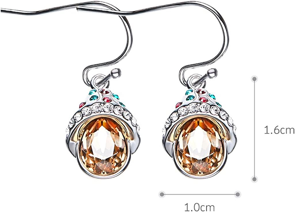 IUHA Multi-Colored Candy shaped Pendant Necklace made with Swarovski Crystal For Girls or Women Present Prevent Allergies